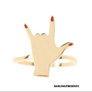 ROCK ON RED NAILS RING